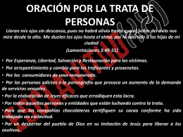 ORACIÓN POR LA TRATA DE PERSONAS