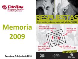 Memoria 2009 Barcelona, 3 de junio de 2010