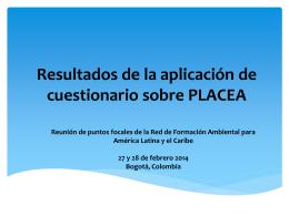 Resultados de la aplicación de cuestionario sobre PLACEA