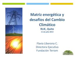 Matriz energética y desafíos del CC