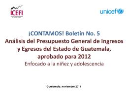 3. Presupuesto 2012 para Niñez y Adolescencia