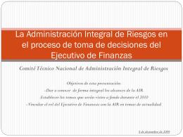 La Administración Integral de Riesgos en el proceso de toma