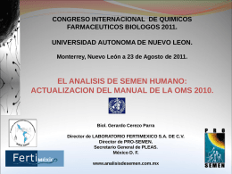 fc6. el analsis del semen humano: actualizacion del manual de la oms