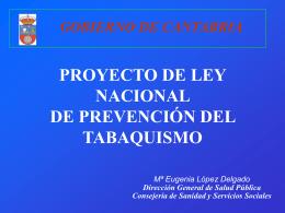 PROYECTO DE LEY DE PREVENCIÓN DEL TABAQUISMO