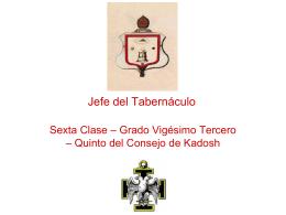 23° Grado – Jefe del Tabernaculo