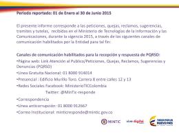 Informe de Gestión PQRSD 1er Semestre de 2015