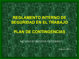 Reglamento Interno de y Plan de Contingencias