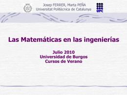Las Matemáticas en las ingenierías
