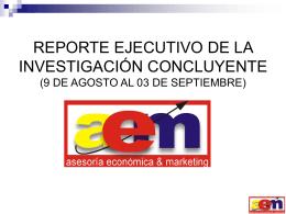REPORTE EJECUTIVO DE LA INVESTIGACIÓN CONCLUYENTE