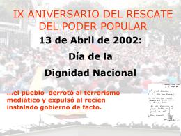 IX ANIVERSARIO DEL RESCATE DEL PODER POPULAR