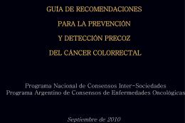guía de recomendaciones para la prevención y detección precoz