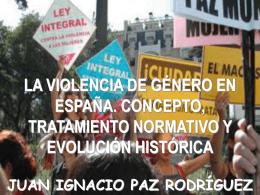 LA VIOLENCIA DE GÉNERO EN ESPAÑA. CONCEPTO