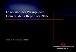 Discusión del Presupuesto General de la República 2005