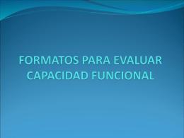 Formato para EVALUAR CAPACIDAD FUNCIONAL