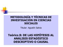 de las hipótesis al análisis estadístico descriptivo o causal