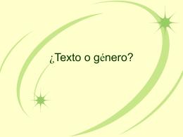 ¿Texto o género?