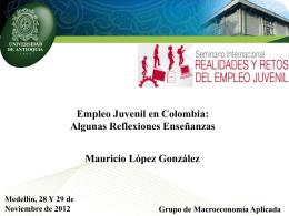 Empleo Juvenil en Colombia: Algunas Reflexiones Enseñanzas