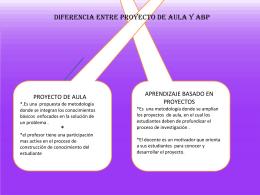 DIFERENCIA ENTRE PROYECTO DE AULA Y Abp