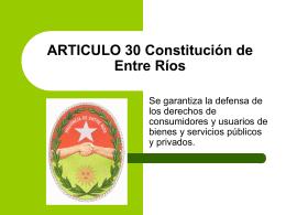 ARTICULO 30 Constitución de Entre Ríos