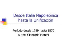Desde Italia Napoleónica hasta la Unificación - Culturaitaliana2012-2