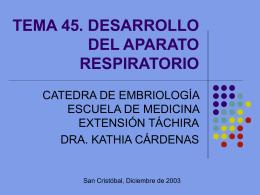 TEMA 45. DESARROLLO DEL APARATO RESPIRATORIO