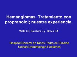 Hemangiomas. Tratamiento con propranolol