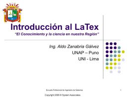 """Introducción al LaTex """"El Conocimiento y la ciencia en nuestra"""