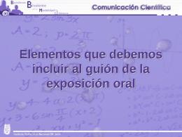 Elementos que debemos incluir al guión de la exposición oral