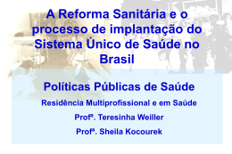 Aula 19 03 2013 - Power Point - A Reforma Sanitária e o