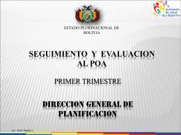 Primer trimestre - Ministerio de Salud de Bolivia