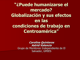 """""""¿Puede humanizarse el mercado? Globalización y sus efectos en"""