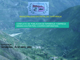 Southern Perú en Tapairihua - Grupo de Diálogo, Minería y