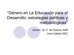 """""""La Educación para el Desarrollo con enfoque de género"""""""