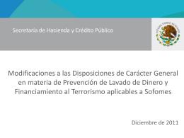Disposiciones SOFOMES 23-dic-2011