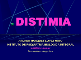 Distimia - Instituto de Psiquiatría Biológica Integral