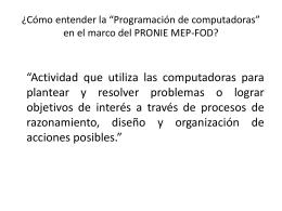 Didáctica de la Programación bajo el contexto PRONIE MEP-FOD