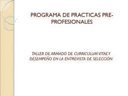 Taller para Admisión para Prácticas Pre Profesionales
