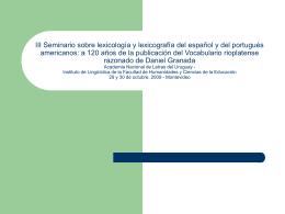 III Seminario sobre lexicología y lexicografía del español y del