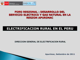 Logros y Perpestivas de la Electrificación Rural en el Perú