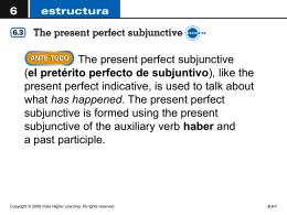 el pretérito perfecto de subjuntivo - Crest Ridge R-VII