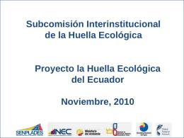 huella ecologica en ecuador - Sistema Nacional de Información