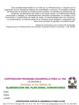 elaboración del plan zonal comunitario