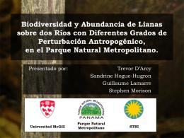 Biodiversidad y Abundancia de Lianas sobre dos Ríos con