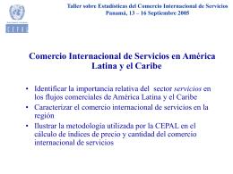Taller sobre Estadísticas del Comercio Internacional de Servicios