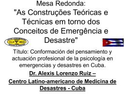 ETAPAS ψ EMERGENCIAS Y DESASTRES EN CUBA