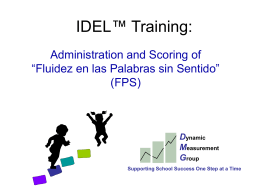 Administration and Scoring of Fluidez en las Palabras sin Sentido