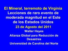 El Mineral, terremoto de Virginia