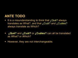 9.3 ¿Qué? and ¿cuál?