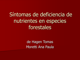 DEFICIENCIA DE NUTRIENTES EN ESPECIES FORESTALES
