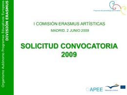 Presentación Participación Artísticas. Convocatoria 2009